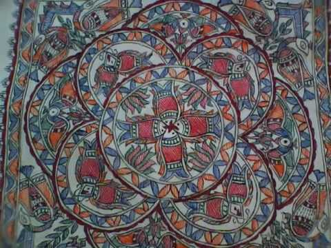 Madhubani Painting worked on back portion of a Kurta.
