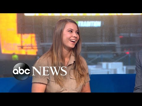 Bindi Irwin brings her kookaburra and dwarf crocodile to Times Square
