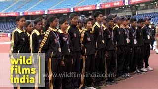 West Bengal athletes stand for NCC song