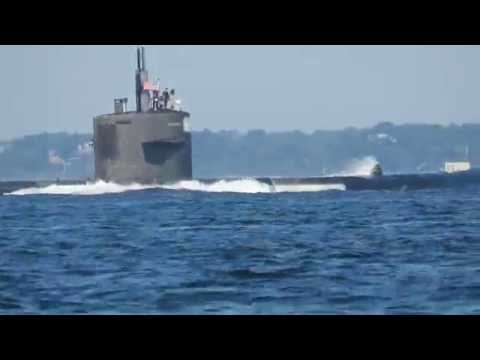 US Submarine leaving New London, Connecticut 8/19/16