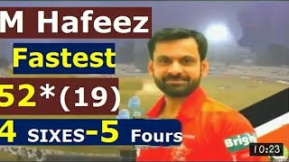 vuclip M Hafeez Fastest 50 on 19 balls 4 sixes 5 Fours