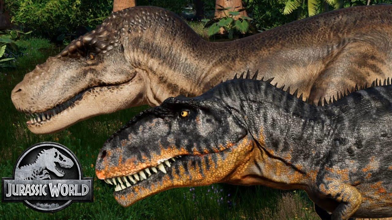 Sue & Scotty (T-Rex) vs 2 Giganotosaurus! Breakout & Fight! Jurassic World Evolution Mods (4K 60FPS)