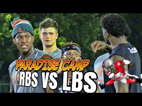 Caneville | Mark Richt Paradise Camp | RBs vs LBs | 2018