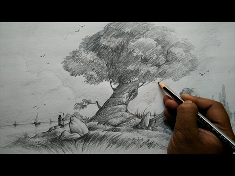 How to Draw A Tree and House with Composition for Beginners | Pencil Art