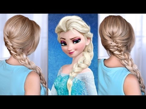 Французская коса - прическа Эльзы, Холодное Сердце. В школу, институт, на работу