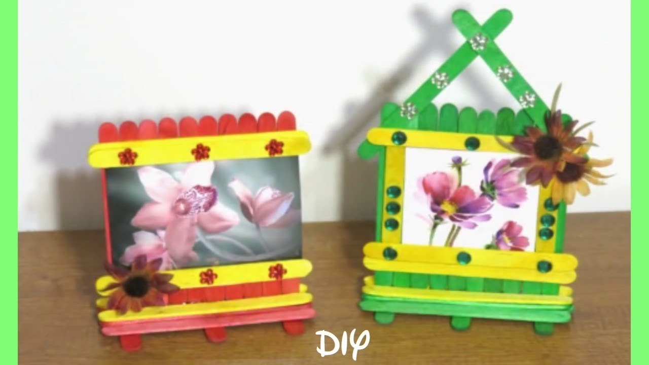 Diy popsicle stick picture frame icecream stick photo for Popsicle picture frame crafts