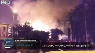 بالفيديو والصور.. حريق في مدينة السينما والفنون بالهرم