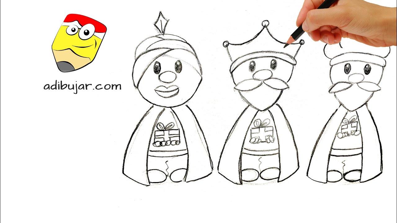 Cómo Dibujar A Los Reyes Magos A Lápiz Fácil Paso A Paso Melchor Gaspar Y Baltasar