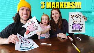3 MARKER CHALLENGE!  (Peppa Pig, Boss Baby, Daniel Tiger)