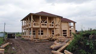 Строительство дома из бруса по проекту KS-1(Дом из бруса в п. Рябинино. Кладка бруса с с перерубами. Крыша- мягкая кровля Шинглас. Подробнее о брусовом..., 2016-08-13T05:15:52.000Z)
