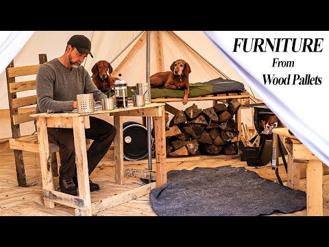 DIY Complete Off-Grid Furniture Build Using Free Wood Pallets - Living With My Dogs In A Canvas Tent