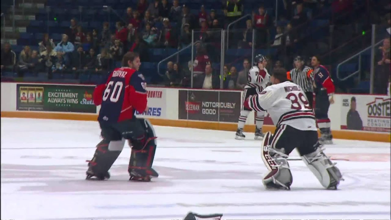 OHL Goalie Fight Guelph Storm vs Windsor Spitfires
