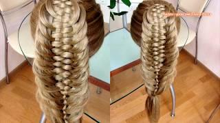 Коса Рыбий хвост с четырьмя дополнительными прядями. Видео-урок. Hair tutorial
