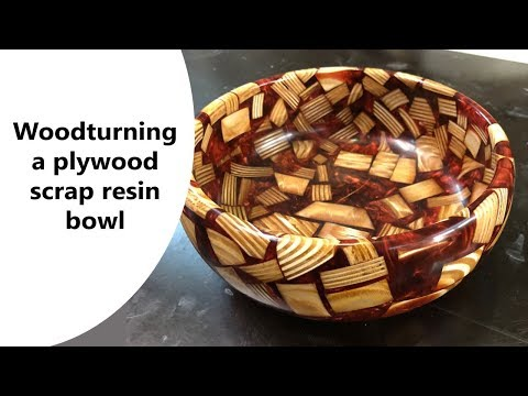 Woodturning the plywood scrap resin bowl