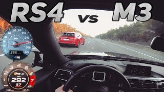 Audi RS4 vs BMW M3 Competition - TOP SPEED - Acceleration - 290+ KM/H  | Knallgas