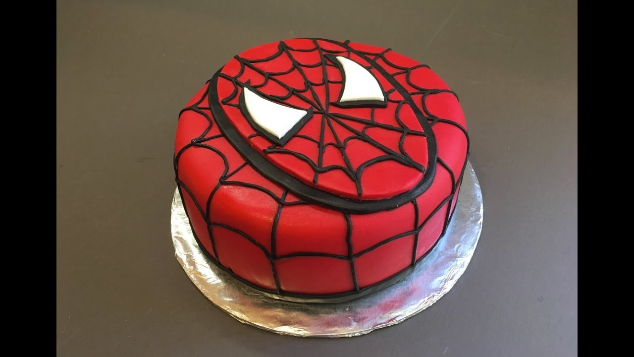 Spiderman cake birthday boy tutorial how to bolo for Spiderman template for cake