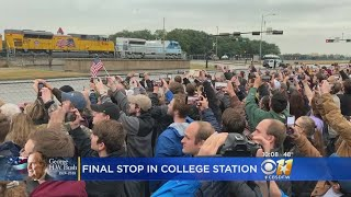 Final Stop For President George H.W. Bush In College Station After Train Ride From Houston Area