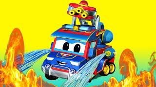 儿童动画- 超级消防卡车去救火 -汽车城超级卡车!