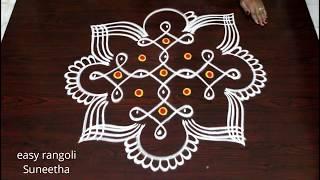 7 dots melika muggulu design || easy rangoli by Suneetha || new sikku kolam