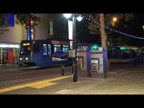 Sacramento Light Rail Down K Street, Sacramento California