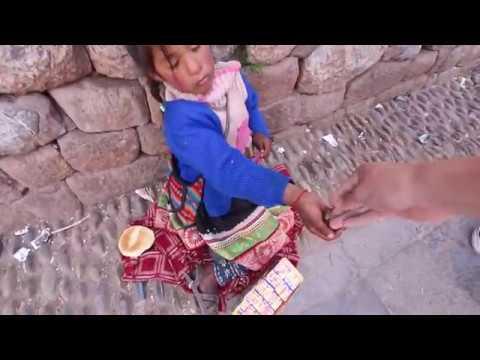 PERU Cusco  Homeless People   giving away money