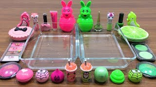 pink-vs-green-mixing-makeup-eyeshadow-into-clear-slime-special-series-satisfying-slime-videos-3