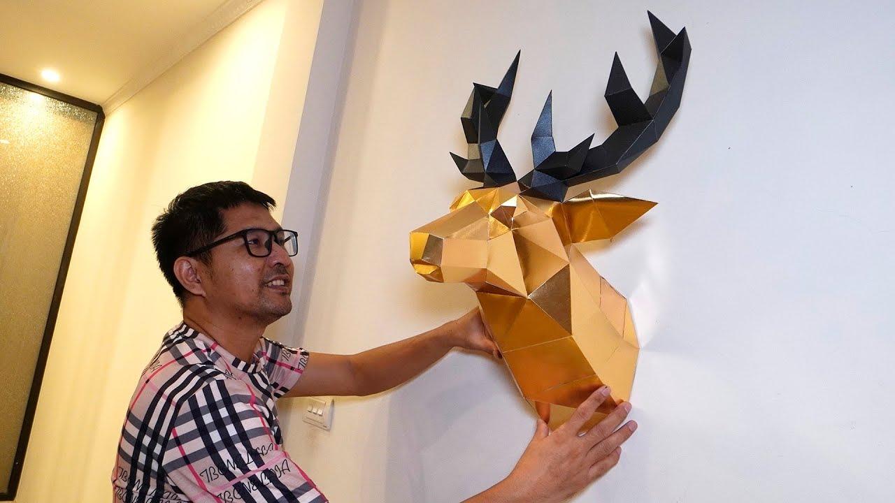 Bố Bạn Bún Tự Làm Con Nai Treo Tường   DIY Papercraft Deer Head