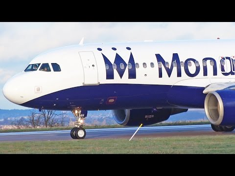 Monarch Airlines Airbus A320 G-ZBAH East Midlands Airport Take Off [1080p HD]