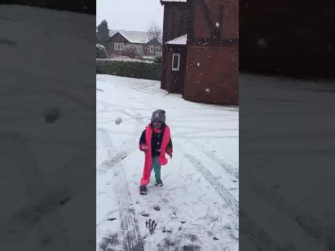 Kids Playing with Snow.Snowfall in uk
