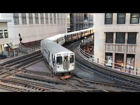 """CTA HD 60fps: Chicago """"L"""" Trains @ Tower 18 Interlocking on The Loop (2/8/19)"""