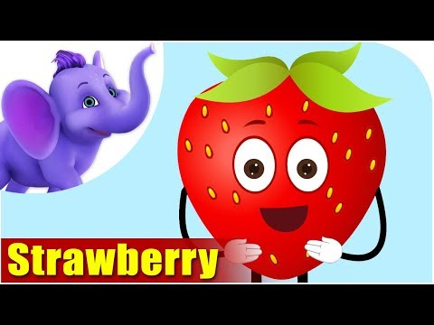 Strawberry Fruit Rhyme for Children, Strawberry Cartoon Fruits Song for Kids