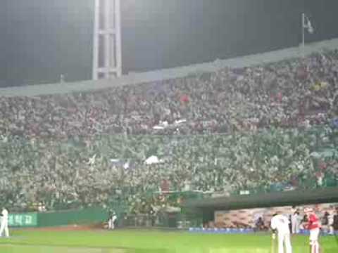 Korea baseball . in Sa-jik . crazy cheer song! Busan galmaegi[seagull]