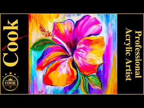 Learn to Paint a Rainbow Hibiscus Flower with Acrylic Paints Step by Step for Beginners