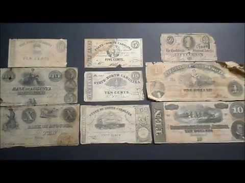 Specimens Of Confederate Currency 1860s Four States Represented