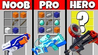 Minecraft Battle: NOOB vs PRO vs HEROBRINE: SUPER NERF GUN CRAFTING CHALLENGE / Animation