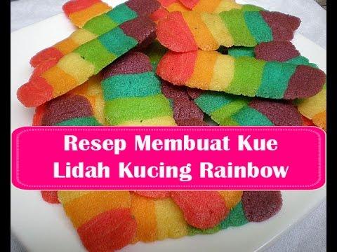 resep membuat kue lidah kucing rainbow   youtube