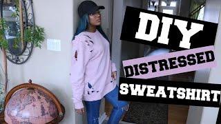 DIY DISTRESSED SWEATER | YEEZY INSPIRED | CLOTHING HACKS