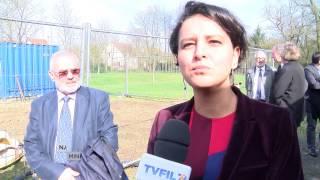 Jouy-en-Josas : Najat Vallaud-Belkacem, Ministre de l'Education, visite la maison Léon Blum en travaux