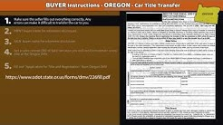 Oregon Title Transfer - BUYER Instructions