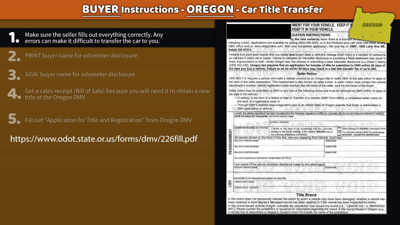 oregon title transfer buyer instructions youtube