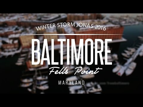 Fells Point, Baltimore Maryland 4k by Drone - Blizzard 2016