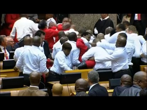 Fistfight in S.African parliament as guards eject opposition MPs