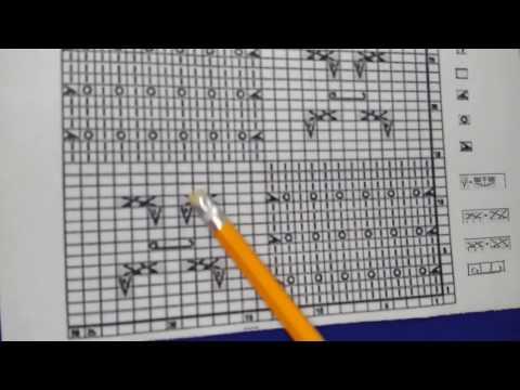 Как читать и вязать условные обозначения схемы узора 23 из книги Хитоми Шида 250 японских узоров