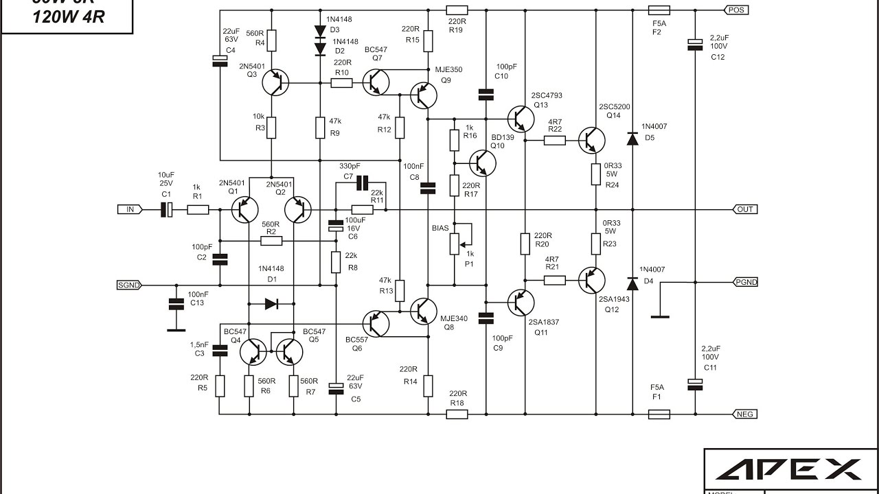 Class Ab Audio Amplifier Schematic - Pcb Circuits