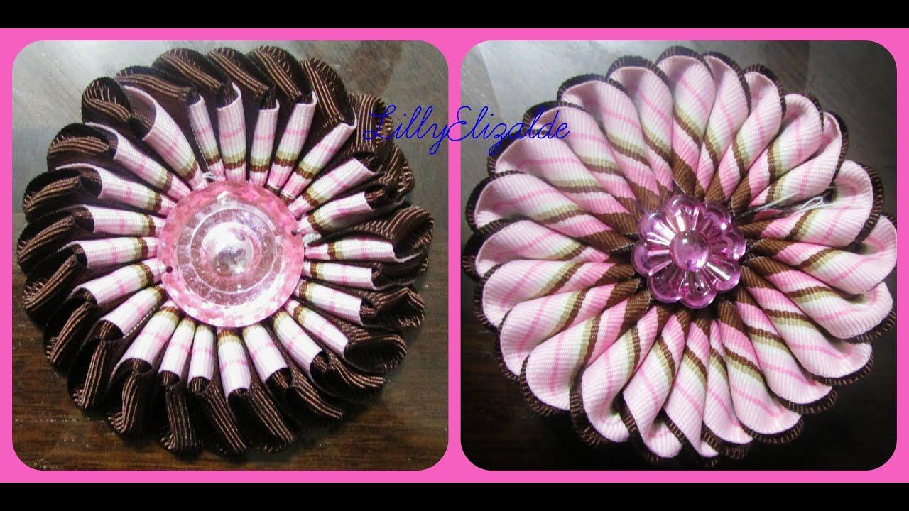 D i y como hacer una flor doble vista con liston - Www como hacer flores com ...