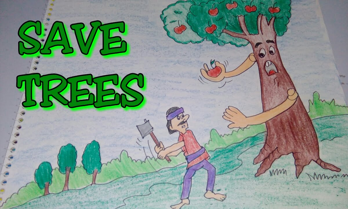 drawing tutorial save trees dont cut trees easy drawing for kids poster creative ideas  [ 1200 x 720 Pixel ]
