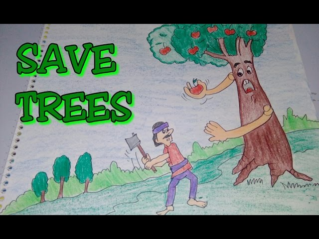 Drawing tutorial: save trees || dont cut trees || easy drawing || for kids | poster [creative ideas]
