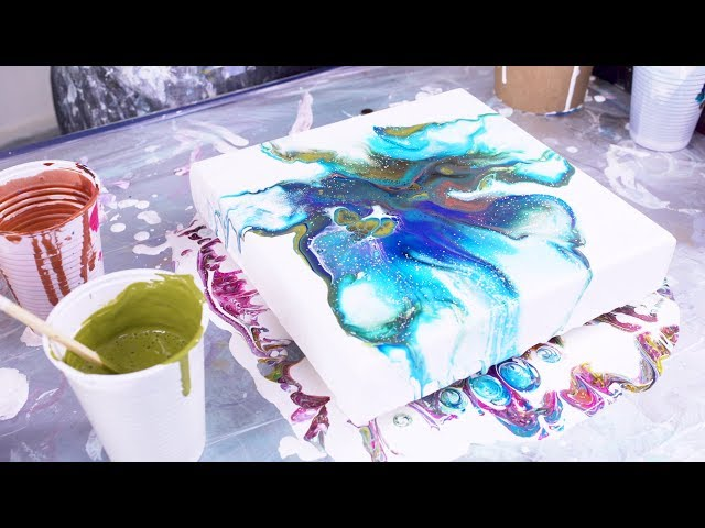 (14) Fluid Art Acrylic Pouring Technique simple