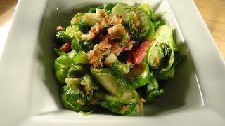 Garlicky fresh Brussel sprouts with bacon YUM