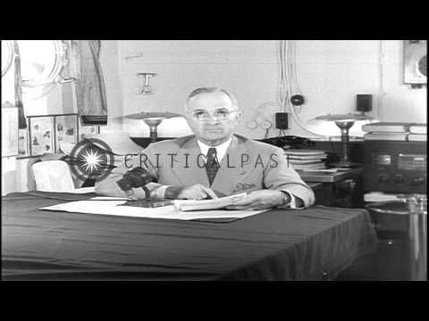 President Harry S. Truman reads prepared speech after dropping of atomic bomb on ...HD Stock Footage